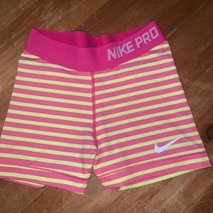 Nike Shorts - Nike Pros w Pink and Neon Yellow Stripes! Size xs!